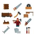 lumberjack cartoon character with tools vector image