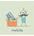 man bought a mobile vector image vector image