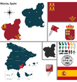 Map of Murcia vector image vector image