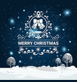 merry christmas lettering over winter forest vector image
