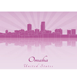 Omaha skyline in radiant orchid vector image vector image