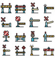 railroad barrier icons set flat vector image vector image