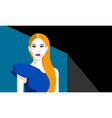 Redhead girl in blue assymmetrical dress vector image