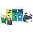Rubbish bins vector image vector image