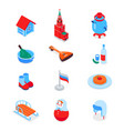 russian symbols - modern colorful isometric icons vector image
