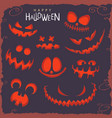 scary faces on halloween vector image vector image