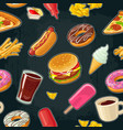 seamless pattern fast food cup cola coffee vector image vector image