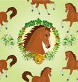 Seamless texture hestnut Horse head of stallion vector image vector image