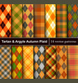 set autumn tartan and argyle seamless pattern vector image