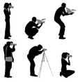 Set cameraman with video camera Silhouettes on vector image vector image