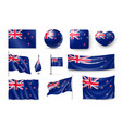 set new zealand realistic flags banners banners vector image