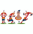 set of funny cartoon soccer player vector image vector image
