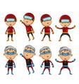 set of kids wearing superhero costumes vector image vector image