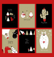 set of retro funny christmas cards vector image vector image