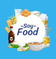 soy products soya bean food tofu sauce and milk vector image vector image