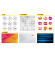 technical info throw hats and update time icons vector image