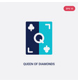 two color queen diamonds icon from gaming vector image