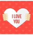 Valentines Day card in mans hands vector image