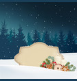 vintage christmas greeting card invitation snowy vector image vector image