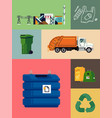 waste energy recycling and reducing set ideal vector image