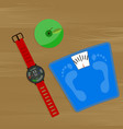 weight loss concept smartwatch and scale vector image vector image