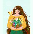 woman like spring season beauty springtime flat vector image vector image