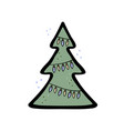 a christmas tree with lamp garland vector image