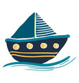 a colorful blue sailing boat or color vector image vector image