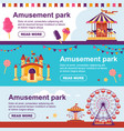 amusement park horizontal banner with carousel vector image vector image