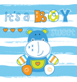 Baby shower with cute little hippo vector image vector image