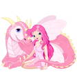 Beautiful Magic Dragon and Fairy vector image