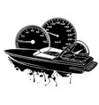 black silhouette racing boat top view vector image vector image