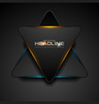 black triangle with blue orange light abstract vector image vector image