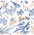 blue seamless pattern with birds vector image vector image