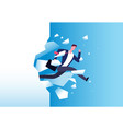 breaking wall concept strong man jamps through vector image vector image