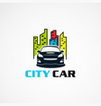 city car with modern touch logo icon element and vector image vector image