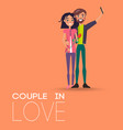 couple in love making selfie on smartphone pair vector image vector image