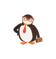 cute doodle penguin toon in glasses and tie is vector image