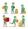 delivery service man cartoon character set vector image vector image