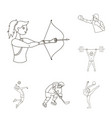 different kinds of sports outline icons in set vector image vector image