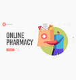 drugs delivery service online pharmacy drugstore vector image