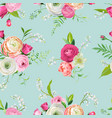 floral seamless pattern with pink flowers vector image vector image