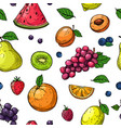 fruit and berries seamless pattern orange and vector image