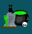 halloween template pot with magical potion and vector image