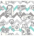 hand-drawn doodle set of retro cameras vector image vector image