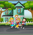 happy children playing on road vector image vector image