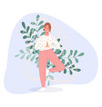 happy women stand on floor and meditating in yoga vector image