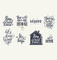 home and welcome decor quotes signs set isolated vector image vector image