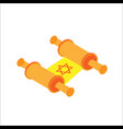 isometric flat hanukkah old jewish scroll jewish vector image