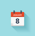 January 8 flat daily calendar icon Date vector image vector image